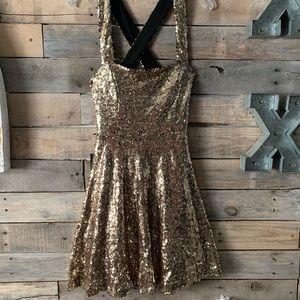 Sequin Gold Cocktail Dress